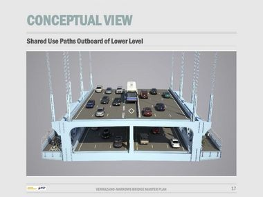 A concept of what bike and pedestrian pathways could look like on the Verrazano Bridge's lower level. One side of the bridge will be dedicated for two-way bicycle access. The pathway on the other side would be dedicated to pedestrian use. (Courtesy of WSP Parsons Brinckerhoff)