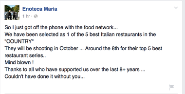 Follow Enoteca Maria on Facebook.