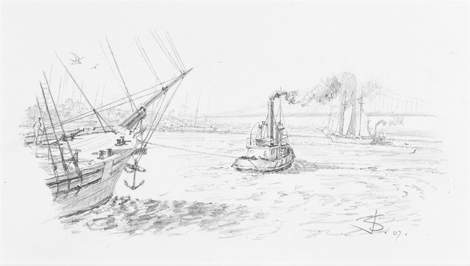 "John Stobart, ""New York, East River toward Brooklyn Bridge,"" pencil on paper, 2007, 2 3/4'' x 6''."