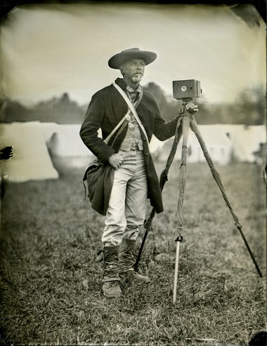 A tintype portrait of photographer Michael Falco on the battlefield at Cedar Creek in Viriginia. (Photo by Todd Harrington)
