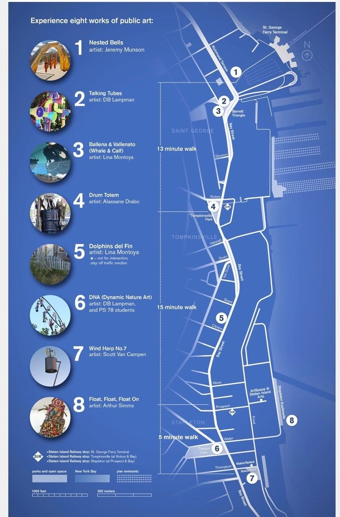 A map of Sonic Gates, a public art initiative by Staten Island Arts and artist Volker Goetze. (Photo courtesy of Staten Island Arts)