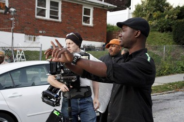 "Director Gerald Barclay, who grew up on Staten Island after immigrating from Liberia, at work on the set of his film, ""The Bully."""