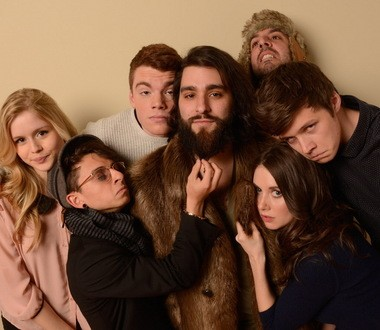 """Erin Moriarty, Moises Arias, Gabriel Basso, Jordan Vogt-Roberts, Chris Galletta, Nick Robinson and Alison Brie mug for the cameras at the Sundance Film Festival, where """"The Kings of Summer"""" (then titled """"Toy's House"""") scored rave reviews in January."""