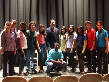 "The cast of the 2012 IlluminArt production of ""What Goes Around"" is joined by State Sen. Andrew Lanza, center."