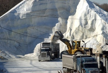 Salt is loaded onto trucks at Atlantic Salt Inc., located at the former home of the U.S. Gypsum Company.