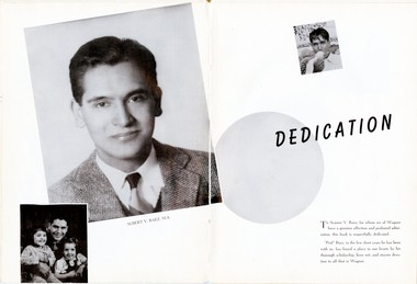 The 1944 Kallista, Wagner College Student Yearbook, featured a double-page spread with the dedication of the yearbook to Professor Albert Baez, who'd been promoted the year before.