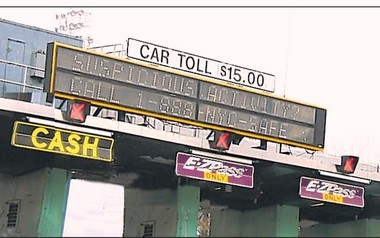 The sign shown in this photo illustration will be a reality at the Verrazano-Narrows toll plaza on Sunday morning.
