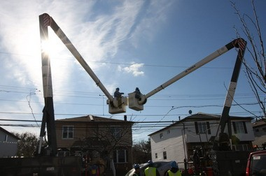Con Ed workers make repairs on Seaver Avenue in Dongan Hills following Hurricane Sandy.