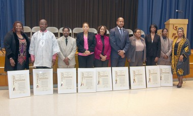 The honorees, from the left, are Michelle Akyempong, Telee Brown, Lee-Michael Dobson, Minnie Graham, Christine Hollie, Stephone Montgomery, Desiree Newsome, Jeannine Otis and Ralph Williams Jr. At right is Stephannia Cleaton, communications director for Councilwoman Debi Rose. The legislatoras Black History Month event took place at Prall Intermediate School.