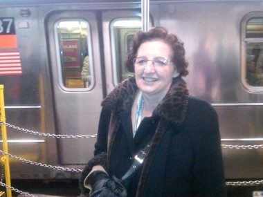Pat Reischour of Silver Lake gets ready to board the 1 train.