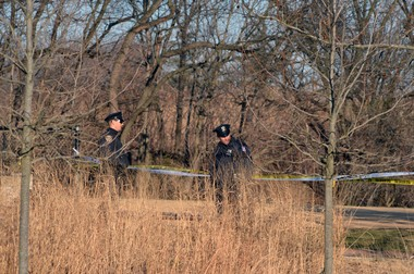 Police block off Schmul Park in Travis following the dog shooting incident.