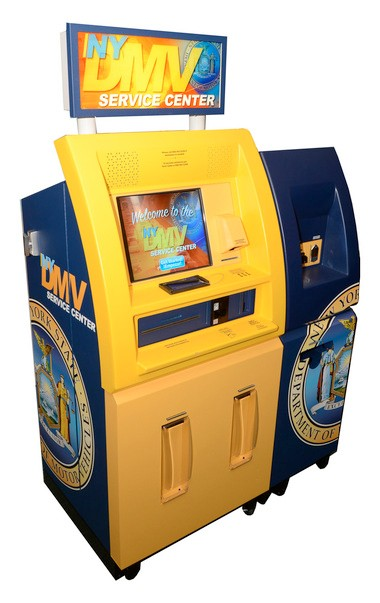The new DMV customer service kiosk, which is already in place at the Staten Island office.