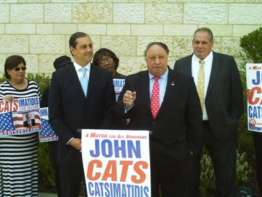 GOP mayoral candidate John Catsimatidis, right, addresses supporters after picking up the endorsement of state Sen. Andrew Lanza, left.