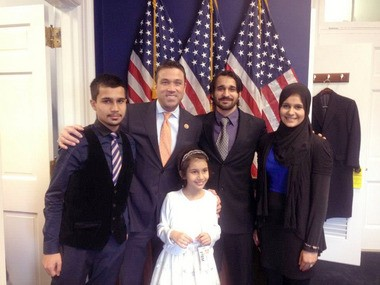 With Rep. Michael Grimm are, from left, Tayyeb Ashmed, 16; Aysha Naveed, 8; Max Ahmed, 24, and Hina Naveed, 23. On Thursday, Grimm voted against an amendment that would have put the so-called DREAMERs back on deportation proceedings.