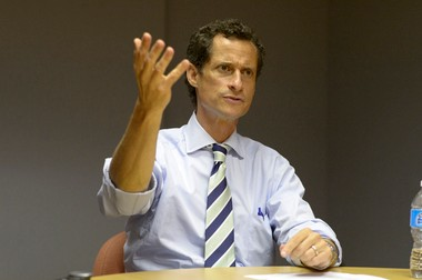 Anthony Weiner gestures during an exclusive interview with the Advance at its Grasmere headquarters on Friday.