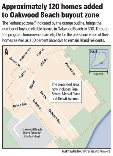 About 120 homes have been added to the Oakwood Beach buyout zone.