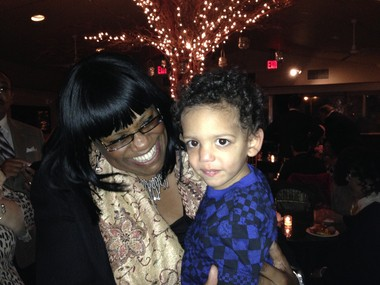Councilwoman Debi Rose and her grandson Dante at the victory celebration in the Vanderbilt in South Beach.
