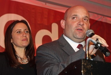 With his wife, Annie, at his side, Councilman-elect Steven Matteo thanks his supporters in the Excelsior Grand, New Dorp.