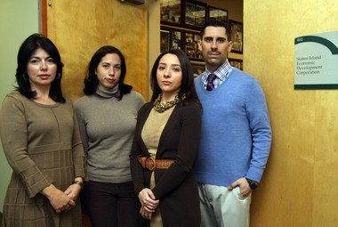 SIEDC employees, from left: Jodi Guagliardo, VP of Special Events, Marisol Paulino, Outreach Coordinator, Alexandra Porto, VP of Membership & Outreach and Steven Grillo, Director of Projects are upset they recived a letter that their health plan was canceled.