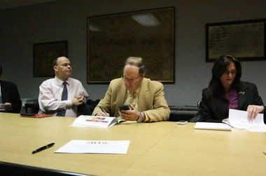 From left, Staten Island Economic Development Corp. President and CEO Cesar Claro; board of directors chairman Robert Moore, and Senior Vice President Gina Gutman lay out organization's vision for West Shore at an Advance Editorial Board meeting.