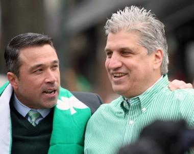 Congressman Michael Grimm meets up with former Councilman Domenic Recchia along the parade route. 3/2/14 (Staten Island Advance/Hilton Flores)