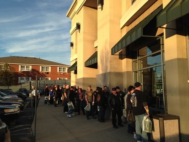 Fans line up outside the Barnes & Noble to meet KISS band member Paul Stanley Tuesday.