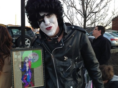 """Peter Michael Schepper came from Manhattan dressed and made up to look like Stanley's """"Starchild"""" persona, but he said he'd come out for non pop-star authors and artists as well."""