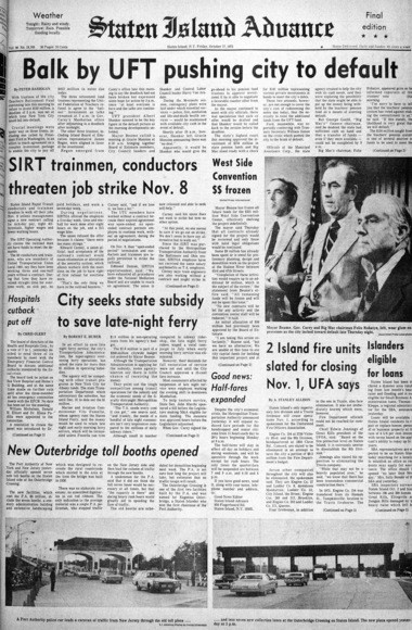 Staten Island Advance front page from October 17, 1975. (Staten Island Advance/Irving Silverstein)