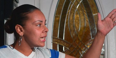 Standing in front of her Van Duzer street residence, Ramsey Orta's wife, Chrissie Ortiz, talks with reporters on Sunday, August 3, about his arrest.