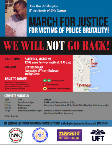 """A flier in support of the Aug. 23 """"We Will Not Go Back"""" march posted on the United Federation of Teachers website."""