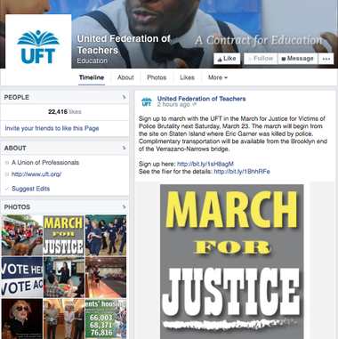 A screenshot of the UFT's Facebook post promoting the Aug. 23 march and rally being held to protest the death of Eric Garner.