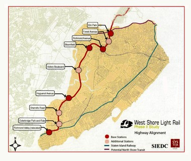 The West Shore light rail project consists of a 13.1-mile public transit system with stops from Richmond Valley to Elm Park. It would carry Island commuters to the Bayonne Bridge and connect with New Jersey Transit's Hudson Bergen Light Rail Line. (Image courtesy of SIEDC)