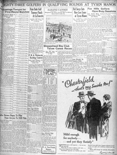 Staten Island Advance sports page from Sept. 4, 1928.From the Historic Richmond Town Collection. (Staten Island Advance/Irving Silverstein)