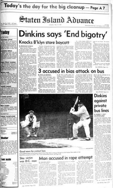Advance historic page from May 12, 1990: Racial tensions in