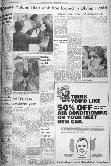 Staten Island Advance sports page from February 9, 1972. (Staten Island Advance/Irving Silverstein)