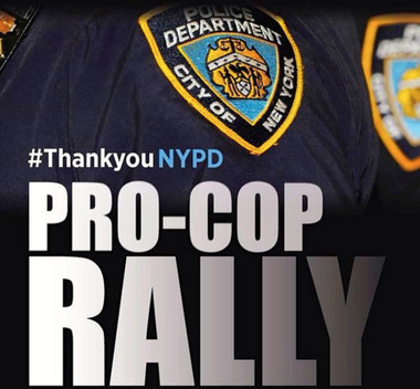 A flier promoting the pro-NYPD rally at City Hall Friday evening has been circulating on Facebook.