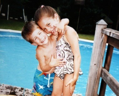 """Kevin Masinski at four years old with his sister Kathleen. """"They both swam like fishes,"""" said their mother, MaryAnn. """"Kathleen taught Kevin how to swim. She taught him everything."""" (Family photo)"""