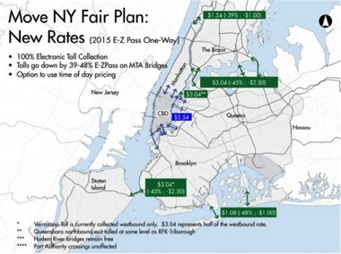 """After years of tweaking, Move NY presented its official """"Move NY Fair Plan"""" on Tuesday. The plan would reduce the toll of the Verrazano Bridge to $3.04 with E-ZPass, or $5.50 without. (Image courtesy of Move NY)"""