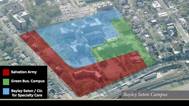 Discussions are underway to turn portions of the Bayley Seton Hospital site into a Salvation Army community center and the city's first green business campus. Centers Heath Care would also continue to operate facilities there.