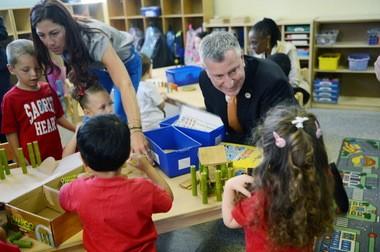 Mayor Bill de Blasio visit a pre-K class in Staten Island on the first day of school.