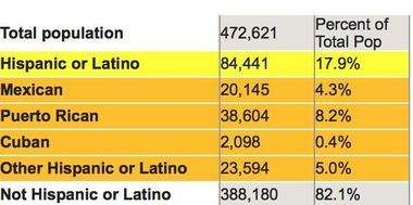 This chart shows the break down of the Hispanic population. (Brookings)