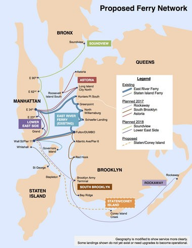 Mayor Bill de Blasio's fast ferry system for New York City.