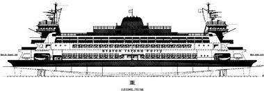 An early concept profile for the two Staten Island Ferry boats that will be replacing the John F. Kennedy as well as the Barberi class's Andrew J. Barberi and Samuel I. Newhouse ferries. (Image courtesy of the DOT)