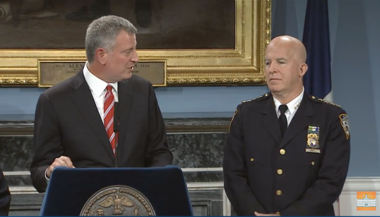 Mayor Bill de Blasio, left, introduces Chief of Department James O'Neill as the city's next police commissioner.
