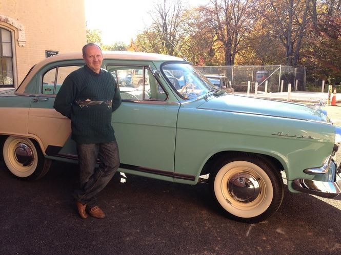"A meticulous restoration of Dmitri Shvetsov's 1957 Volga took four years in Russia. His award-winning car was used in scenes for ""The Americans,"" filmed Monday at Snug Harbor. (Staten Island Advance/Claire Regan)"
