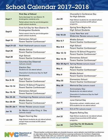 Nyc Doe School Calendar.First Look Nyc Public School Calendar For 2017 2018 Silive Com