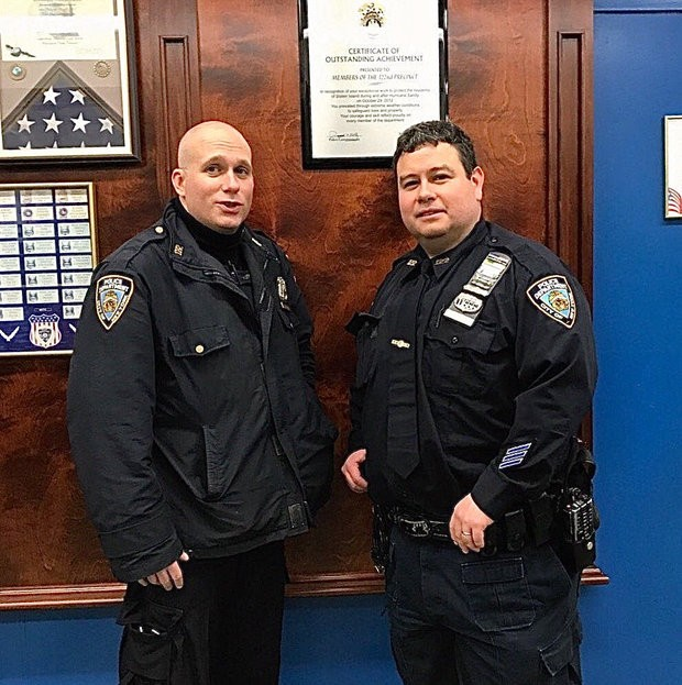 Officers Lemos and Gagliano of the 122 Precinct based in New Dorp are credited with administering naloxone, which is the antidote to opioids such as heroin and pain pills. (Courtesy of NYPD)
