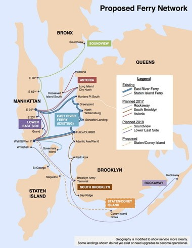 "A map shows Mayor Bill de Blasio's ""citywide"" ferry plan."