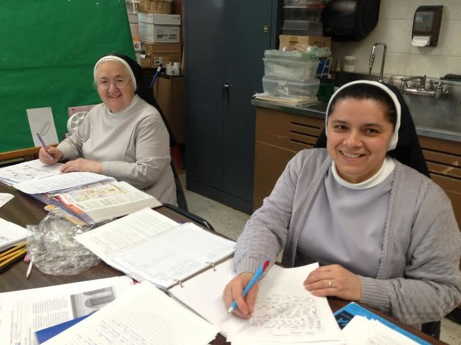 Sister Natalina Rotatori, left, volunteers at Moore Catholic High School and Sister Elida O'Campos teaches art classes. (Staten Island Advance/Claire Regan)