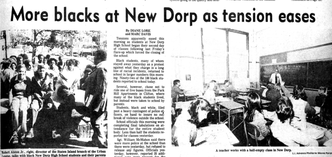 This report in the Staten Island Advance on Oct. 15, 1980 details racial tensions at New Dorp High School.